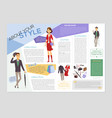 fashion and style - colorful brochure vector image