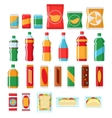 Fast food snacks and drinks flat icons vector image