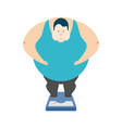 fat guy on scales glutton thick man fatso vector image vector image