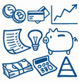 finance and economy doodle drawing icons vector image