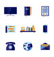 flat office and communication icon set vector image vector image