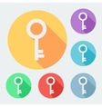 Flat style key icon with long shadow six colors vector image vector image