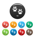 fox step icons set color vector image vector image