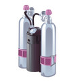 gas cylinders with pressure reducers for breathing vector image