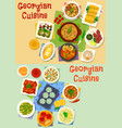 georgian cuisine lunch icon set for food design vector image vector image