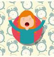 girl in pajamas yawning and stretching clocks vector image