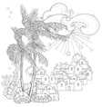 Hand drawn doodle outline palm tree vector image vector image