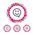happy face speech bubble icons pointer symbol vector image vector image