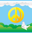 hippie peace symbol with nature background vector image vector image