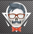 human skull geek hipster fashion poster mustache vector image