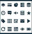 interface icons set with play server favorite vector image