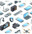 isometric gadgets icons pattern vector image