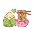 kawaii ramen soup and rice food japanese cartoon vector image vector image