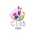kids club logo design bright badge vector image