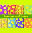 lemon set seamless pattern yellow and green vector image vector image