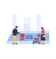 luggage belt at airport people pick up vector image