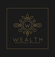 luxurious letter w logo with classic line art vector image vector image