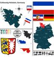 Map of Schleswig Holstein vector image vector image