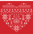 nordic pattern in hearts shape with teddy bear on vector image vector image