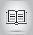 open book icon in flat style text book on white vector image vector image