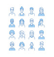 outline avatars smiling young people icons user vector image