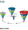 Sales funnel stages 5-7 3d graphics vector image vector image
