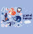 scandinavian winter animals sticker set vector image