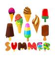 set cartoon ice cream and creative typography vector image