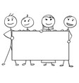 stick man cartoon of four people holding a large vector image