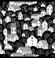 trees and houses seamless pattern black and white vector image