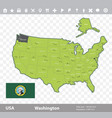washington flag and map vector image vector image