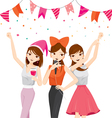 Woman Fun In Party With Drinks Singing Dancing vector image vector image