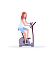 woman training exercise bike sportswoman riding vector image vector image