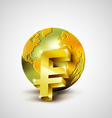 World economic concept with gold world and franc vector image vector image
