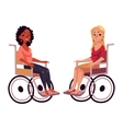 Young black and caucasian women in wheelchairs vector image vector image
