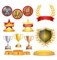 trophy awards cups golden laurel wreath with red vector image