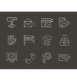 Internet services white line icons set vector image