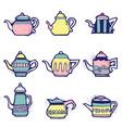 set of hand drawn vintage tea pots vector image
