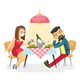 young caucasian white couple at romantic date vector image
