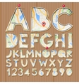 Alphabet and numbers paper craft design cut out vector image