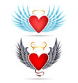 angel and demon winged heart emblems vector image vector image