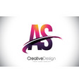 as a s purple letter logo with swoosh design vector image vector image