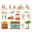 beach activities decorative icons set vector image vector image