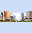 beautiful city on sunset panorama skyline high vector image