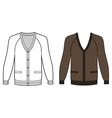 Blank long sleeve raglan cardigan outlined templat vector image vector image