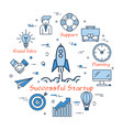 blue round successful startup concept vector image vector image