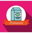 box milk carton restaurant vector image vector image
