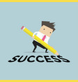 businessman with pencil writing success vector image