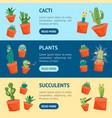 cartoon funny cactus characters banner horizontal vector image