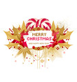 christmas card with holly and candy cane vector image vector image